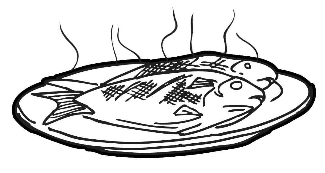 Cooked fish clipart black and white - photo#1