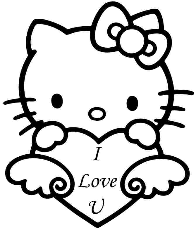 Coloring sheets hello kitty valentine printable free for for Coloring pages for girls hello kitty