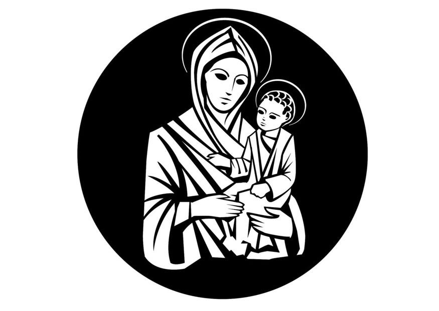 Coloring page Mary and Jesus - img 24747.