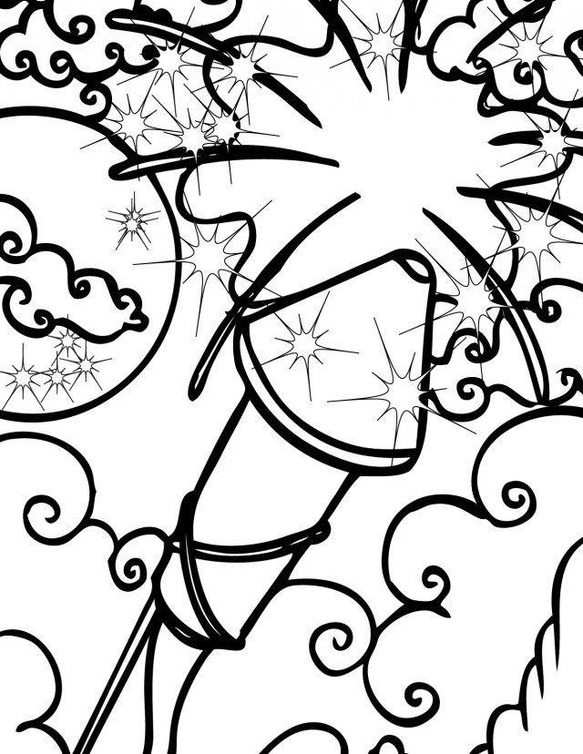 Cartoon firecracker for Firecracker coloring page