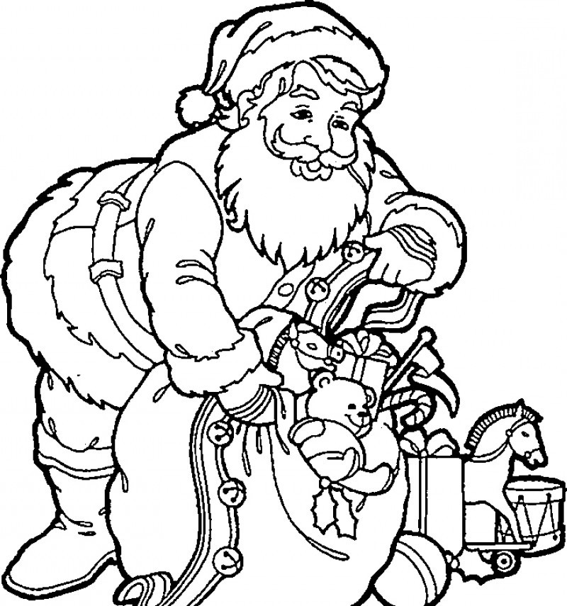 santa christmas eve stuffed stuff coloring page kids colouring pages