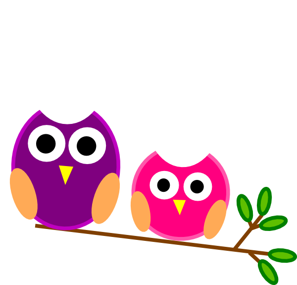 Big And Little Pink And Purple Owls clip art - vector clip art ...