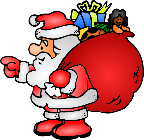 Santa Claus With Sack Of Toys Clip Art Download