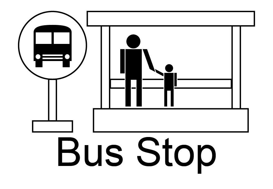 Bus Stop Sign Colouring Pages