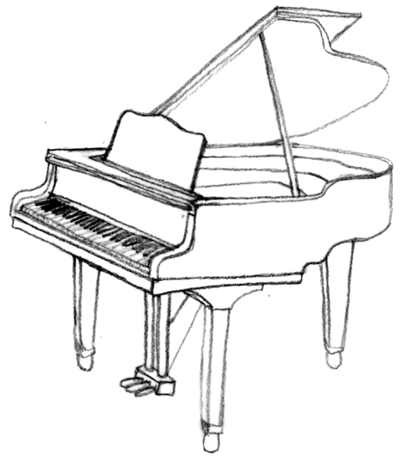 Line Art Keyboard : Drawings of musical instruments cliparts