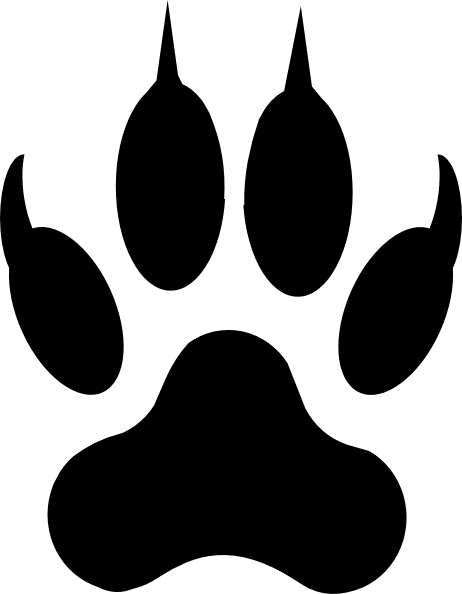 Dog paw outline for Tiger paw template
