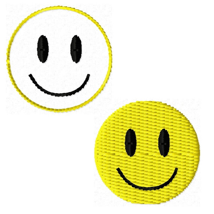 Mini Happy Smiley Face Solid Fill and Outline Machine Embroidery Desi…