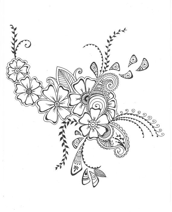 Wall design sketch : Floral drawings cliparts