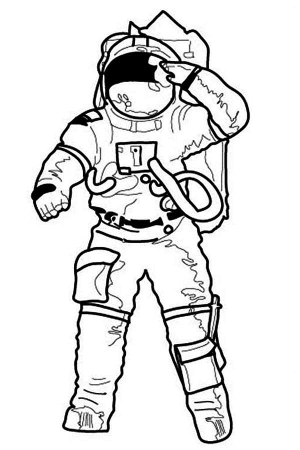 Free coloring pages of astronaut drawing