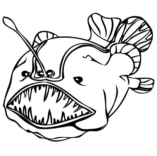 Angler fish cartoon for Angler fish coloring page