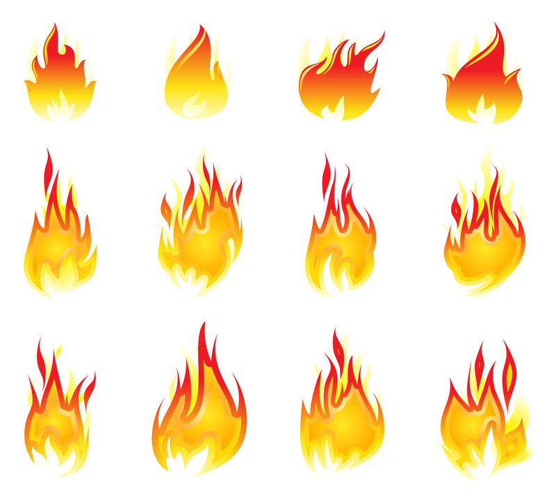 Logo word designs with fire effects
