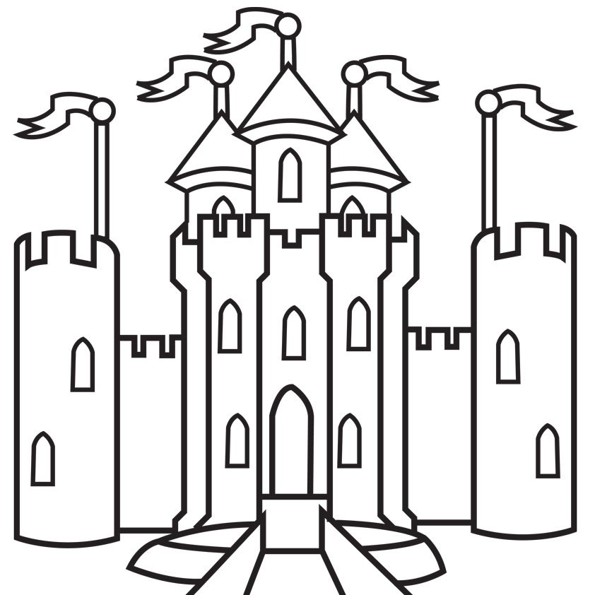 fantasy-castle-coloring-page-printable | Castle coloring page ... | 842x842