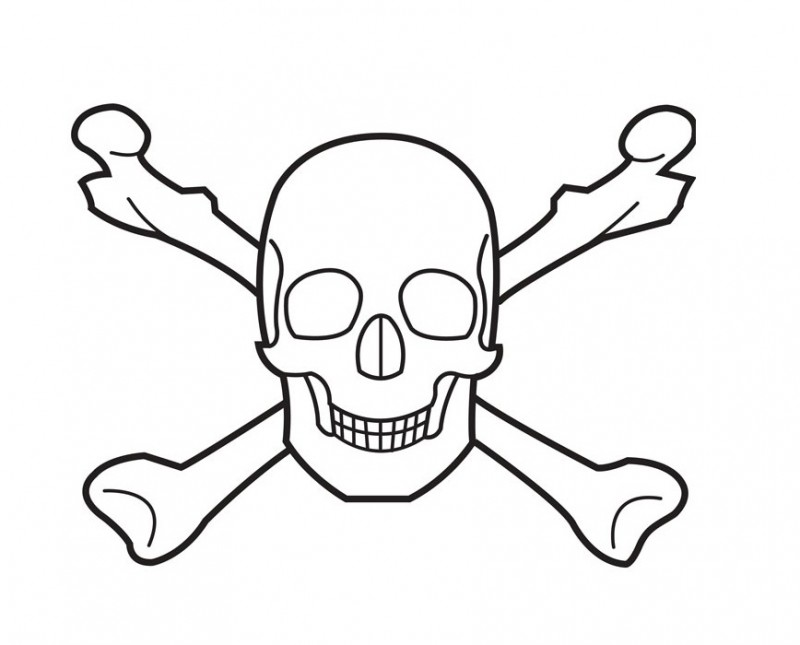 skull and crossbones coloring page - crossbones pictures