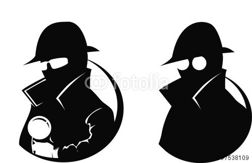 Detective With Magnifying Glass Clipart