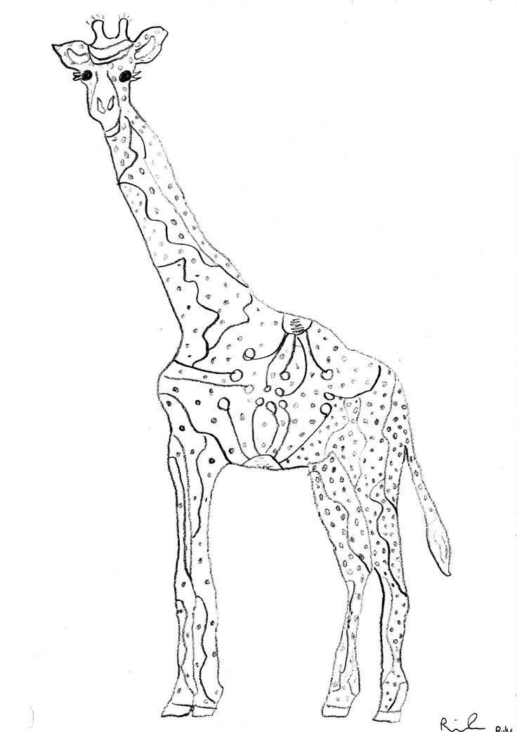 Line Design Art Activities : Giraffe line drawing cliparts