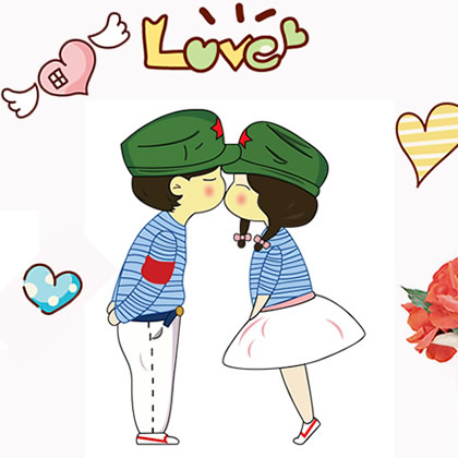 iShow K8 Removable wall stickers cartoon couple love love creative ...