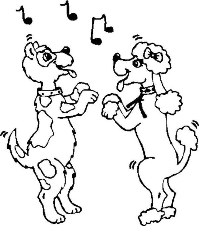 Dogs Dancing Coloring Pages