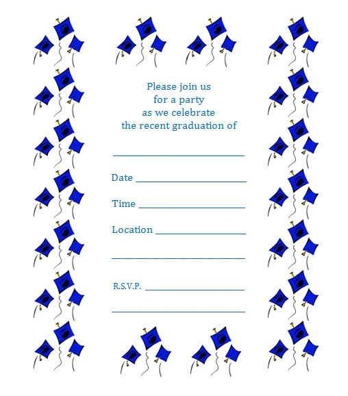 Free printable graduation party invite – Flying Caps