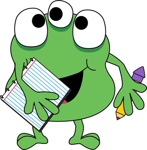 Monster with Notebook and Pencil Clip Art - Monster with Notebook ...