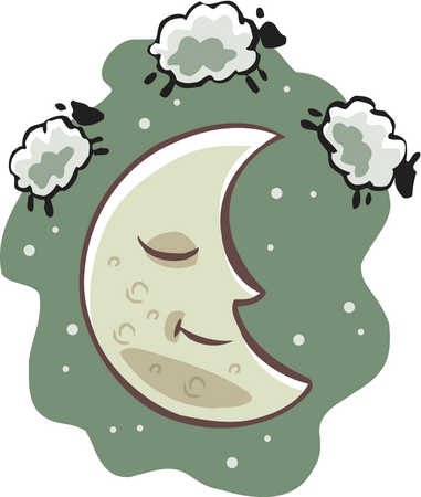 Stock Illustration - A sleeping moon and the counting sheep