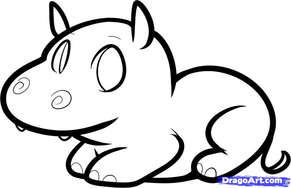 hippopotamus sketch