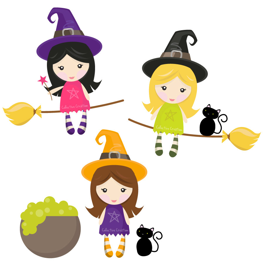 Little Witches Digital Clipart Set Clip Art by CollectiveCreation