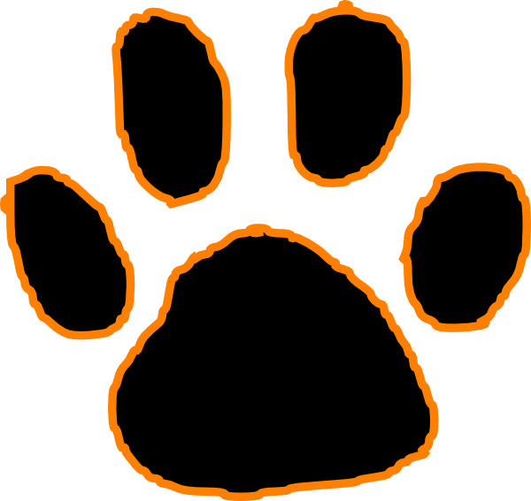 Black Tiger Paw Print With Orange Outline clip art - vector clip ...