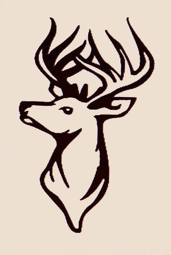 Gallery For > Deer Head Decal