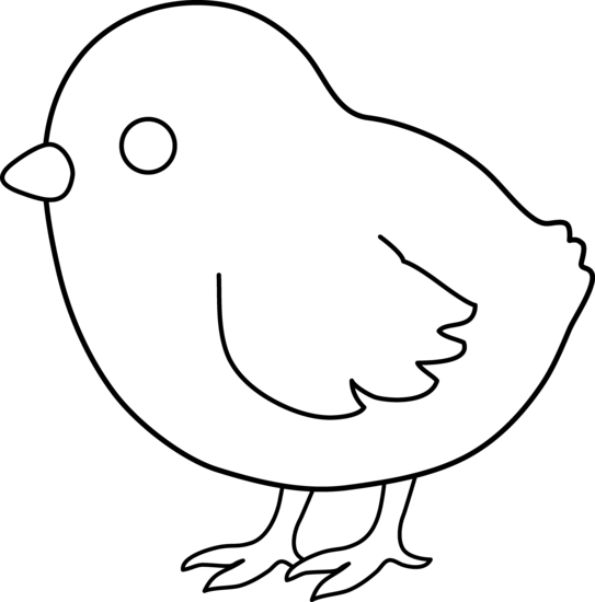 Cute Colorable Baby Chick - Free Clip Art