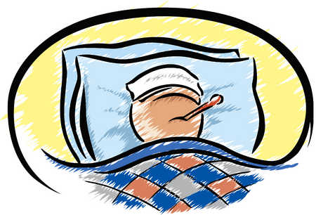Dog Sick In Bed Clipart