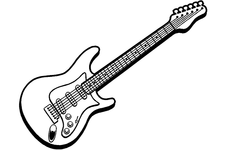 Free coloring pages of guitar electric for Electric guitar coloring page