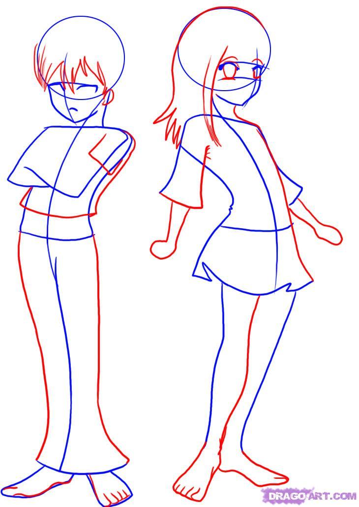 Anime girl body outline for Easy body drawings