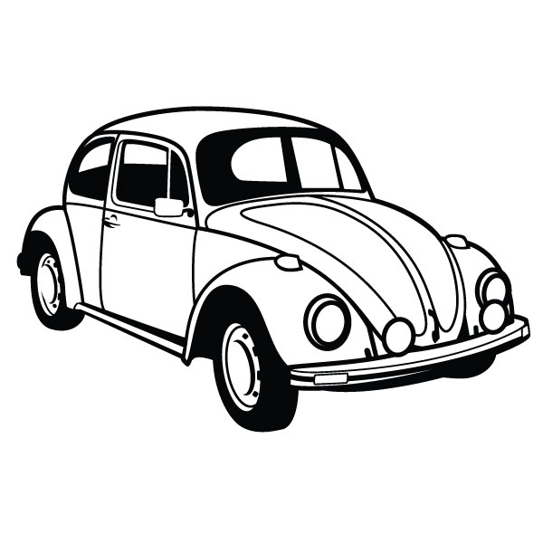 Vw Bug Clipart Black And White VW Beetle Car Vector - ClipArtVw Bug Clipart