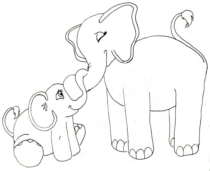 Elephant Drawings Images - Cliparts.co   Mom And Baby Elephant Outline