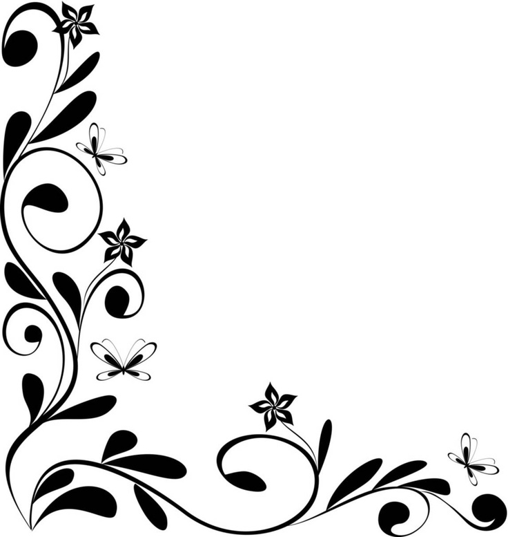 Black and white floral designs - Flower black and white design ...