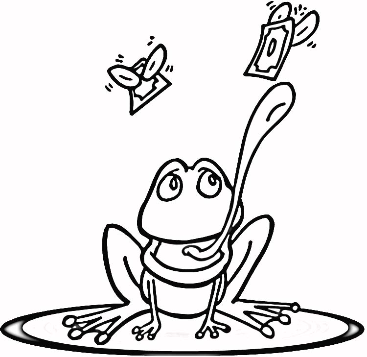Frog On A Lily Pad Coloring Pages