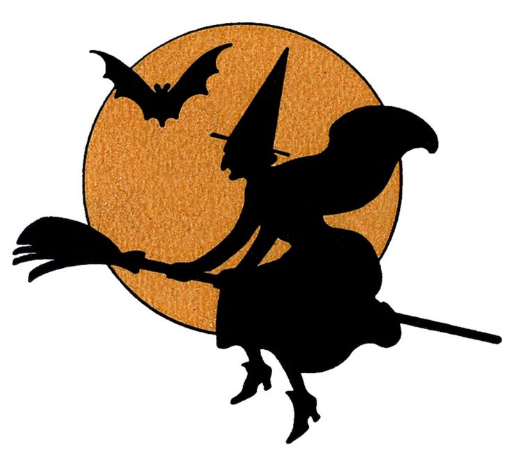 Vintage Halloween Clip Art - Witch with Moon