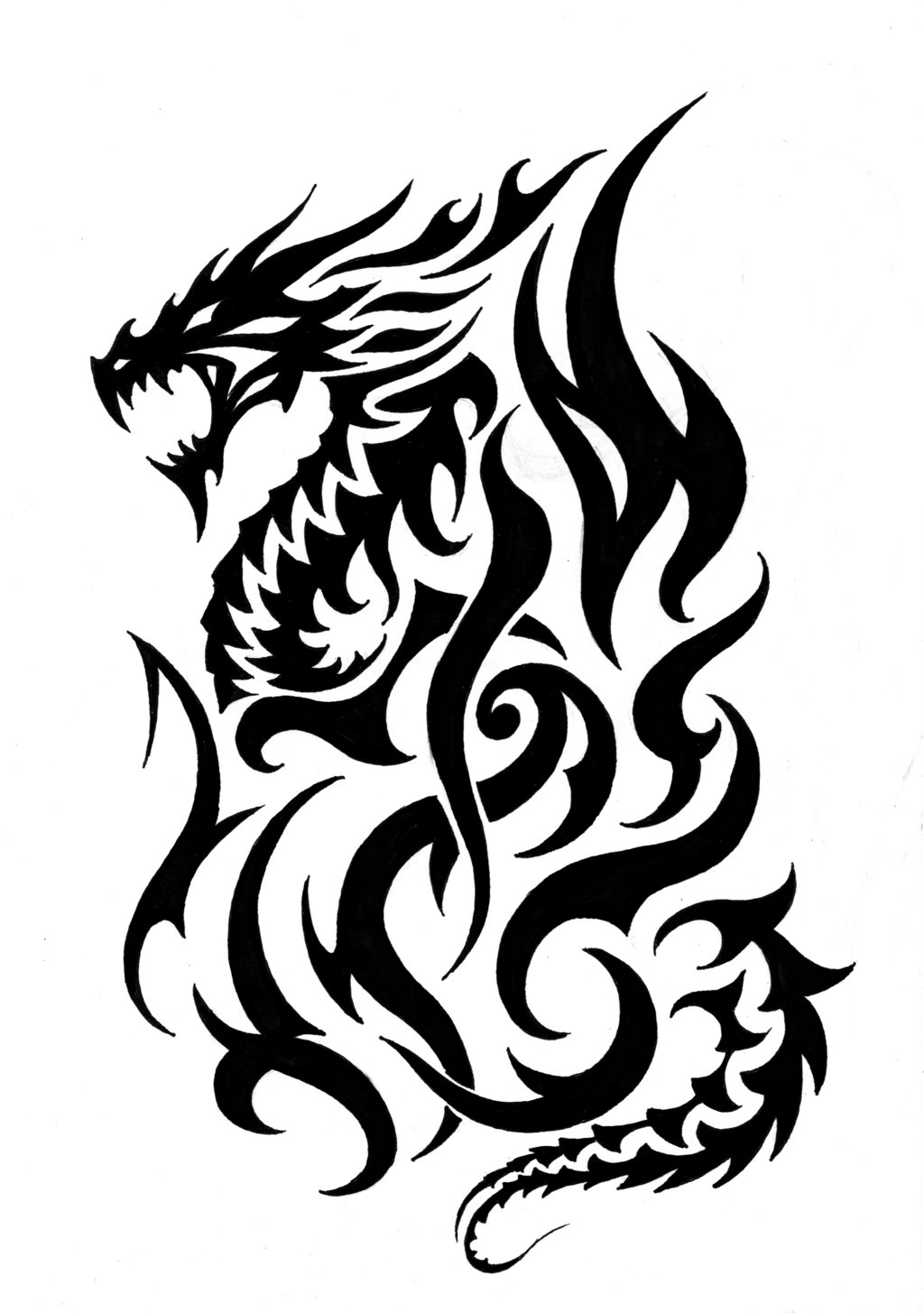 Tribal Fire Dragon Tattoos Designs - ClipArt Best