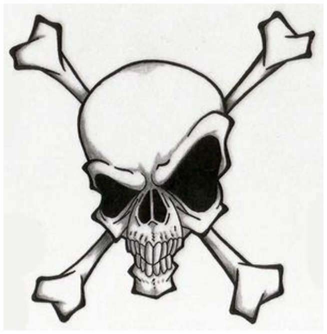Evil skull tattoo designs for Skull and crossbones tattoo