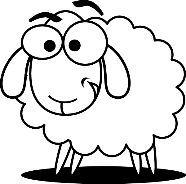 Funny Sheep Outline clip art - vector clip art online, royalty ...