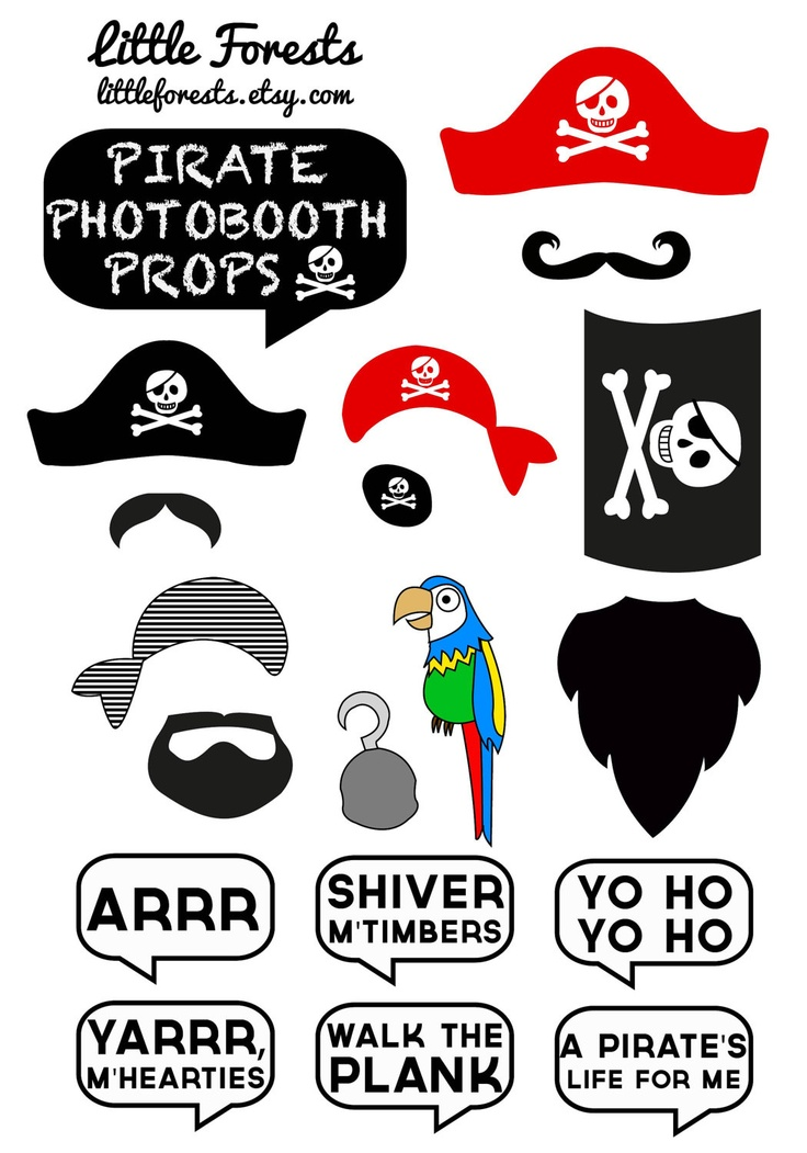 DIY Pirate Photo Booth Props - Moustaches, Beards, Hats, Speech Bubbl…