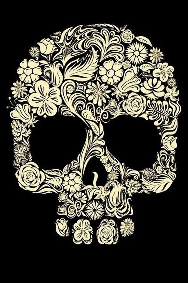 Mexican Sugar Skull Wallpaper | Flower Sugar Skull IPhone 4