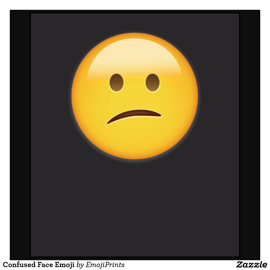 Confused Face Emoji Te...