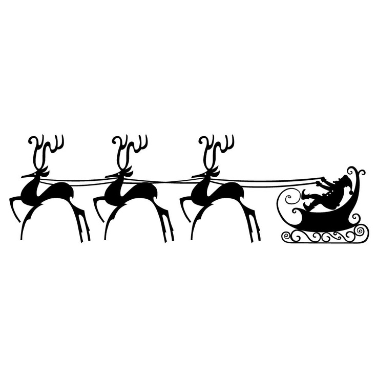 Vinyl Wall Decal Sticker Art - Santas Sleigh- Christmas Decoration ...