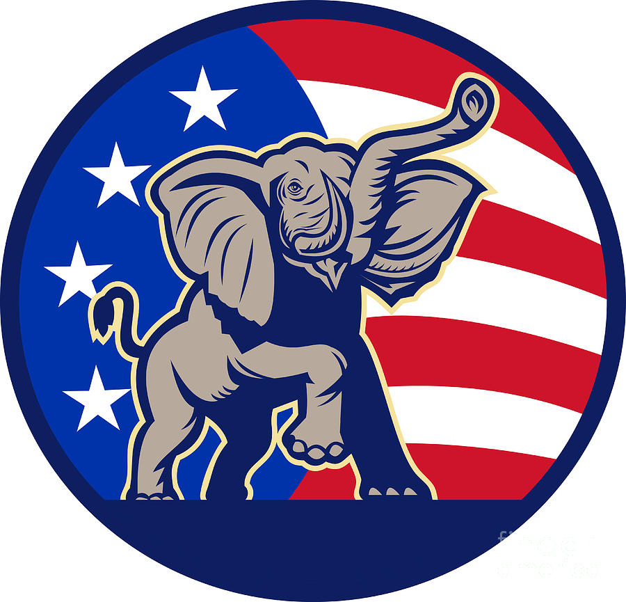 Republican Elephant Mascot Usa Flag by Aloysius Patrimonio ...