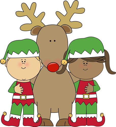 Christmas Elves with Reindeer Clip Art - Christmas Elves with ...