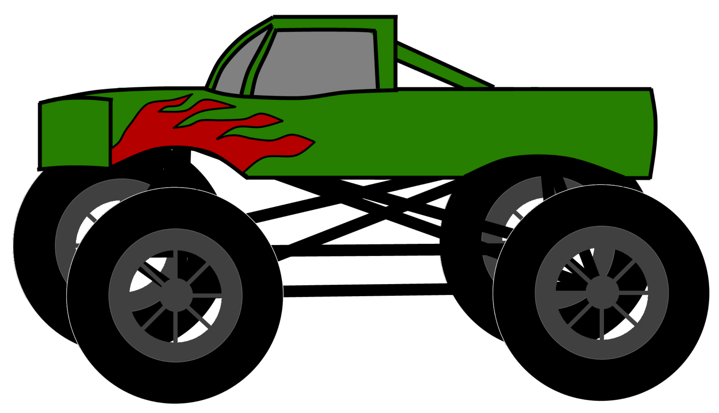 Images For > Monster Truck Clip Art Black And White