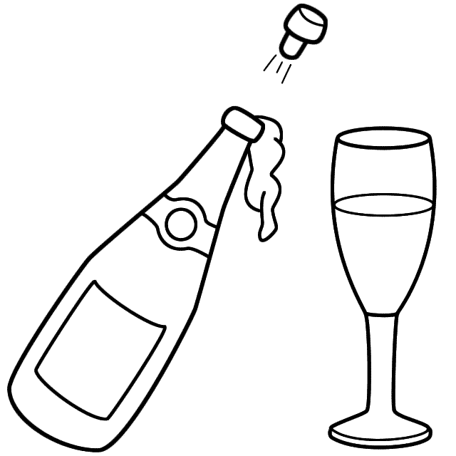 Line Drawing Glasses : Champagne bottle clip art cliparts