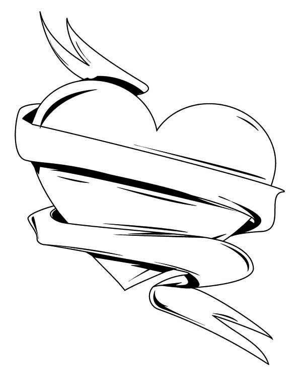 Ribbon And Dagger Tattoo Coloring Pages Ribbon Coloring Page