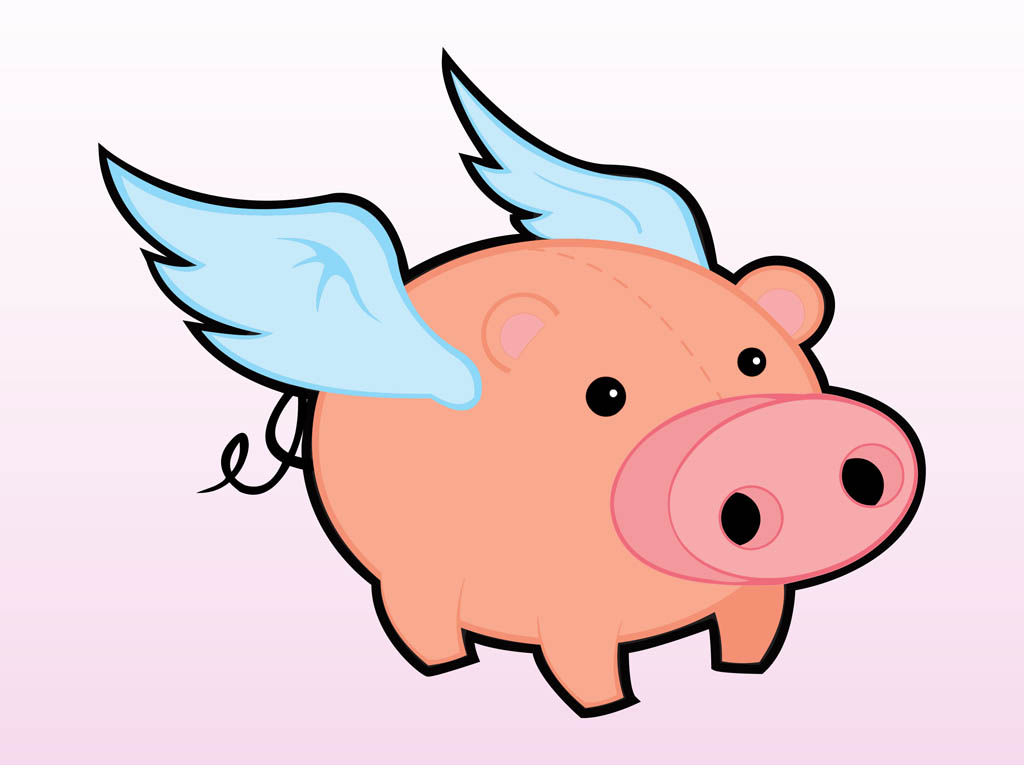 Cartoon Flying Pigs